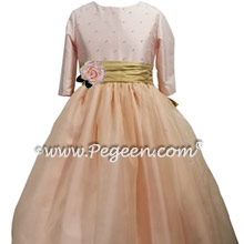 Ballet Pink Silk and Organza Flower Girl Dress