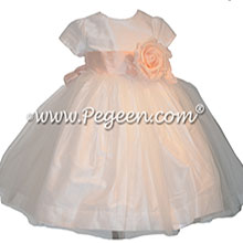 Petal Pink and New Ivory flower girl dress Style 359
