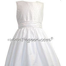 White Silk Custom pearled Communion dresses