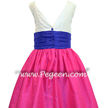 Shock Pink and Blueberry with Pearls Custom Flower Girl Dress