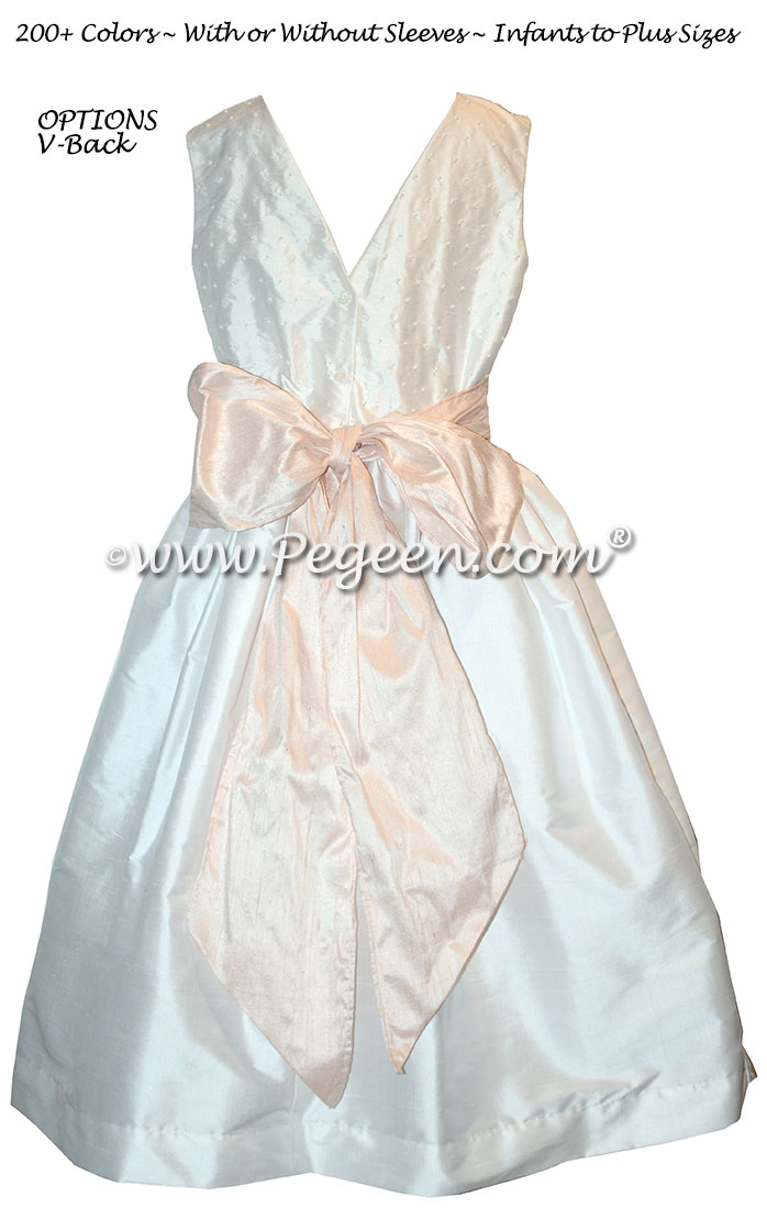 Ballet Pink and Antique White with Pearls and V-Back flower girl dresses