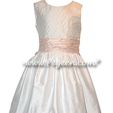 Petal Pink Silk and Antique White with Pearls flower girl dresses Style 370 | Pegeen