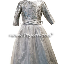 Silver Sequined and Platinum Tulle and Silk flower girl dresses