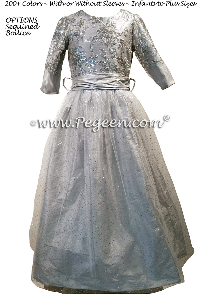 Silver Sequined and Platinum Tulle and Silk flower girl dresses - Style 372