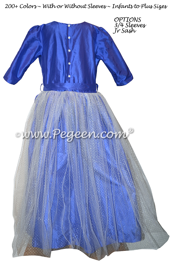 Blueberry Silk and Glitter Tulle Jr. Bridesmaids Dress - Style 372
