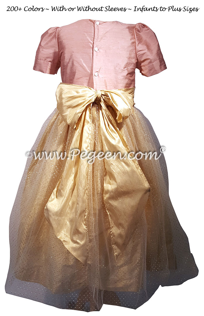 Rum Pink and Gold Tulle Flower Girl Dresses Style 372