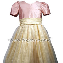 Rum Pink and Gold Tulle Flower Girl Dresses