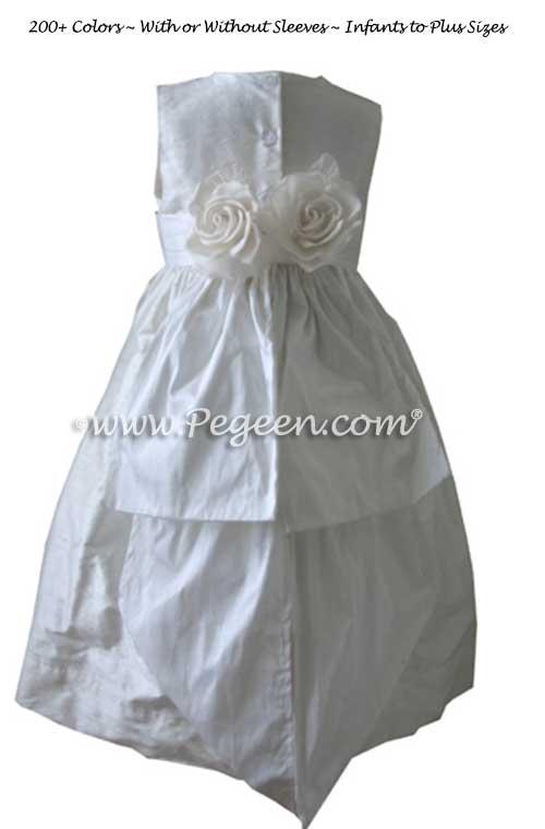Antique White Silk Communion or Flower Girl Dress Style 383