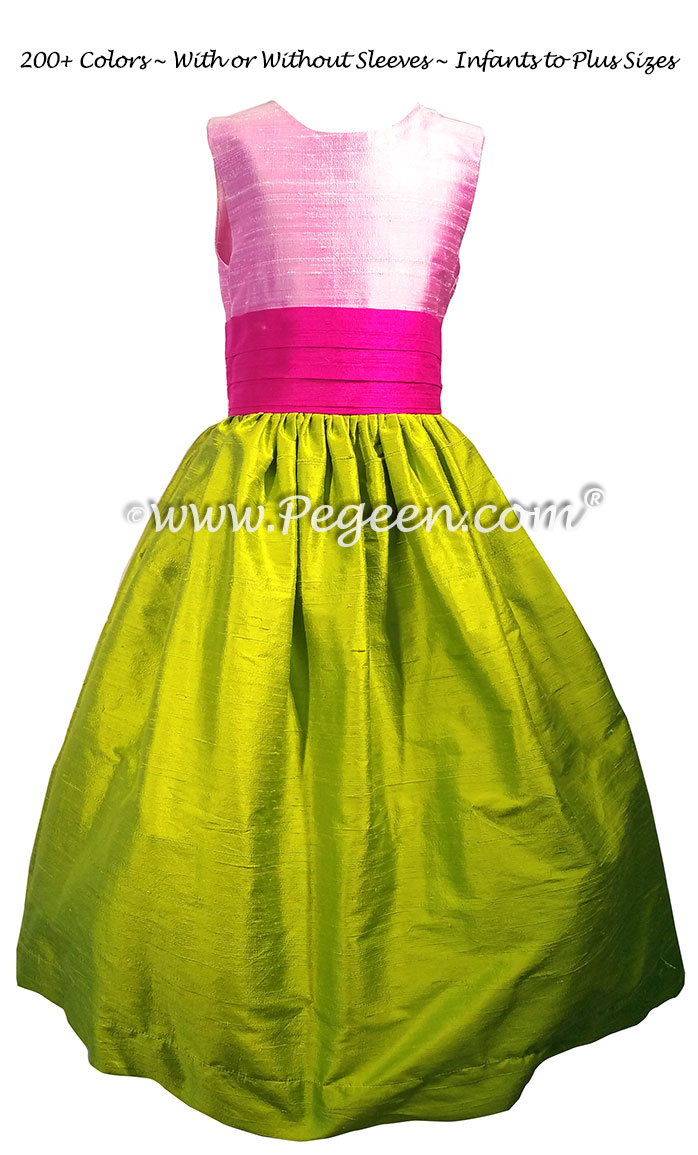 Rose Pink, Apple Green and Hot Pink (boing) Flower Girl Dresses Style 383