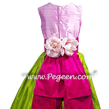 Rose, apple green,hot pink silk flower girl dresses