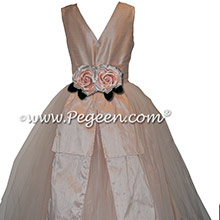 Flower Trimmed Pink Custom Silk Flower Girl Dresses