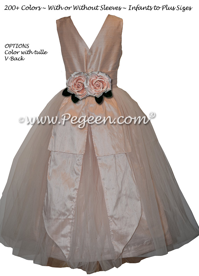 Ballet Pink and New Ivory Tulle Flower Girl Dresses Classic Style 383