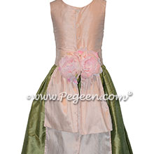 Custom silk sage green and ballet pink flower girl dresses Style 383