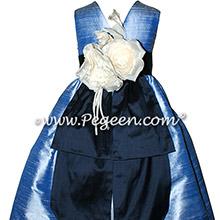 Denim and Midnight Blue Custom Silk flower girl dresses