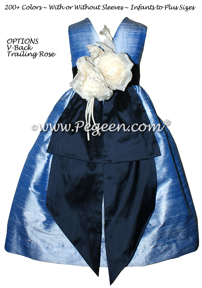 Navy Blue and Denim Blue Flower Girl Dresses with Back Flowers Style 383