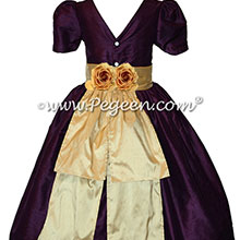 Eggplant and Pure Gold Silk Flower Girl Dresses Style 383