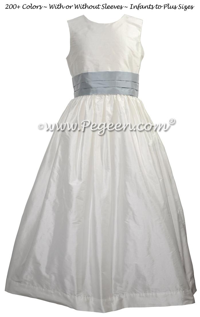 Gray Sky and White Silk Flower Girl Dress