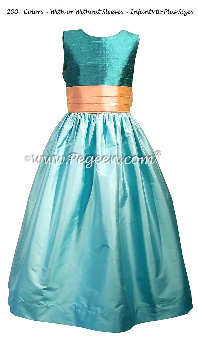 Pacific Teal Tiffany Blue And Peach Silk Flower Girl Dresses