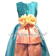 Teal, tiffany blue and peach silk flower girl dresses