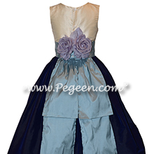 Custom silk navy and powder blue flower girl dresses Style 383