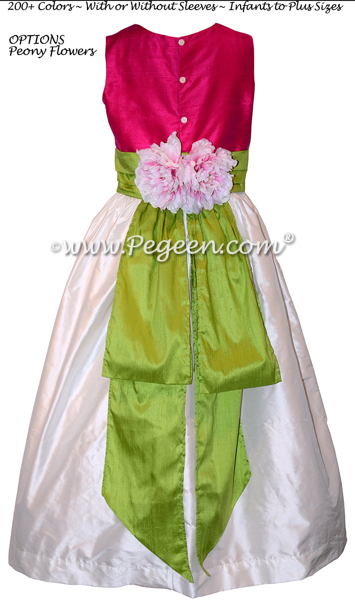 Style 383 flower girl dress in hot pink and green