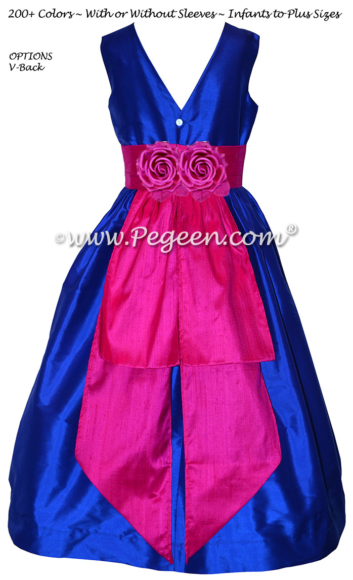 Blue Sapphire With Hot Pink Sash Custom Flower Girl Dress With V Back