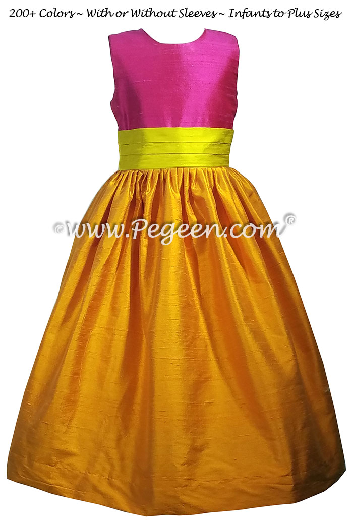 Tangerine orange, Hot Pink Shock and Goldenrod Yellow Flower Girl Dresses Style 383