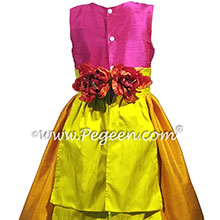 Hot pink, orange and bright yellow silk flower girl dresses