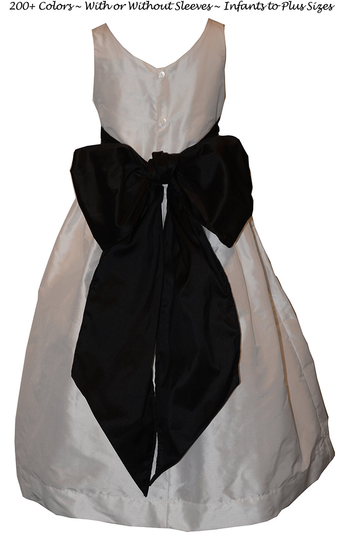 Matching Jr Bridesmaids Silk Dress in Black and White Style 388