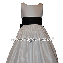 White and Black Custom Silk Flower Girl Dresses