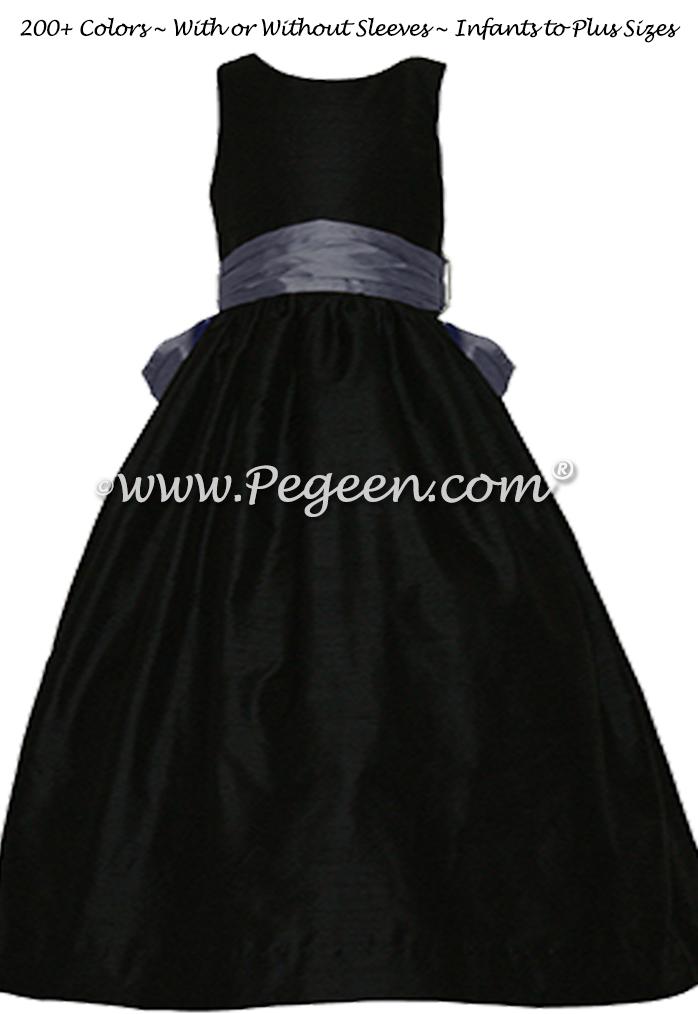 Arial blue and black silk FLOWER GIRL DRESSES