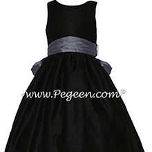Arial blue and black silk FLOWER GIRL DRESSES Style 388