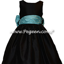 Custom Silk in Black and Turquoise Flower Girl Dresses