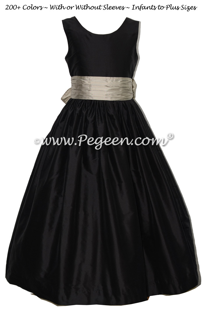 Black and Platinum Custom Silk Flower Girl Dress