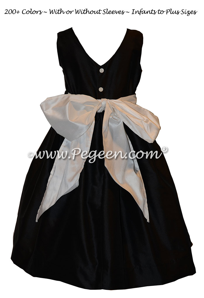 Custom Silk Black and Tahiti (turquoise) Flower Girl Dresses