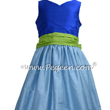 Apple Green and Blue Jr Bridesmaids Dress