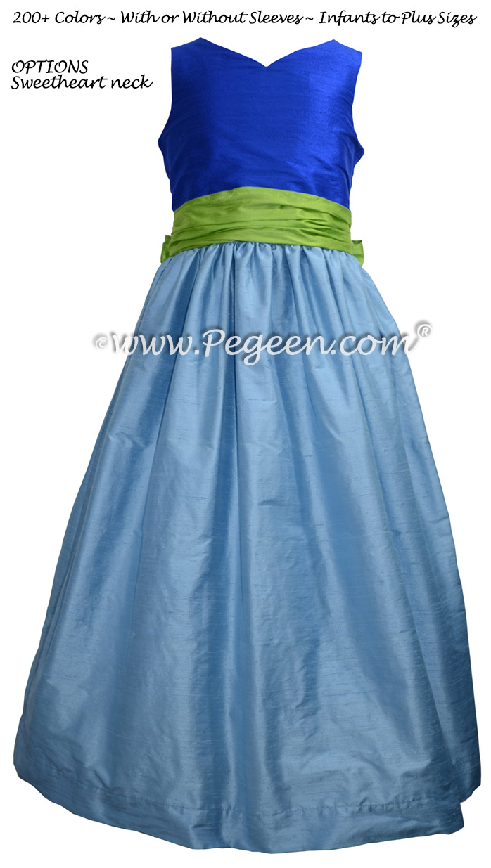 Malibu Blue, apple green and sky blue flower girl dress Style 388