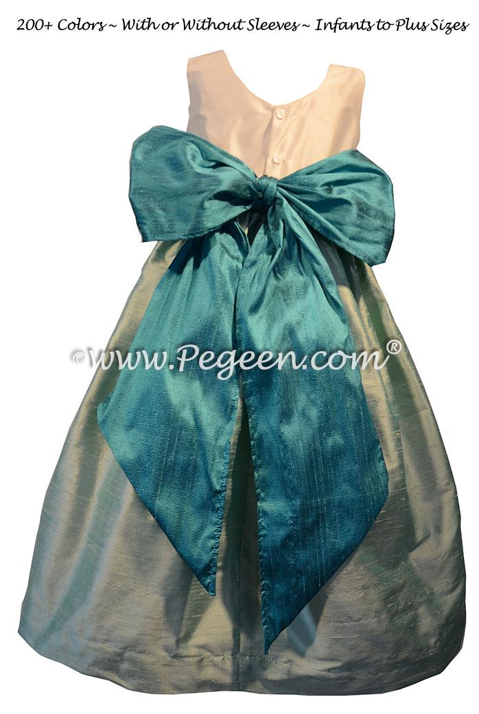 Juniper and Seaside Teal flower girl dresses