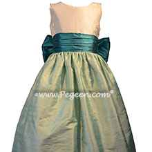Juniper and Seaside Teal flower girl dresses Style 388