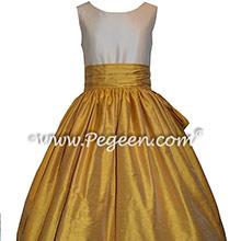 Custom Silk Mustard Yellow and Bisque Flower Girl Dresses