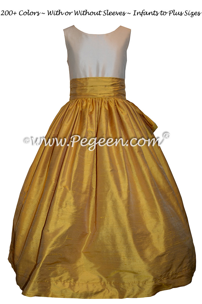 Custom Silk Mustard Yellow and Bisque Flower Girl Dresses Classic Style 388