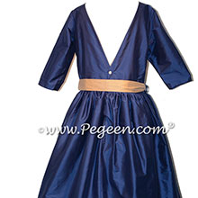 Colonial blue and gold flower girl dress with tulle skirt for Junior