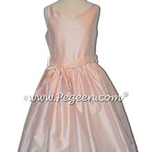 Petal Pink Silk Jr Bridesmaids dresses