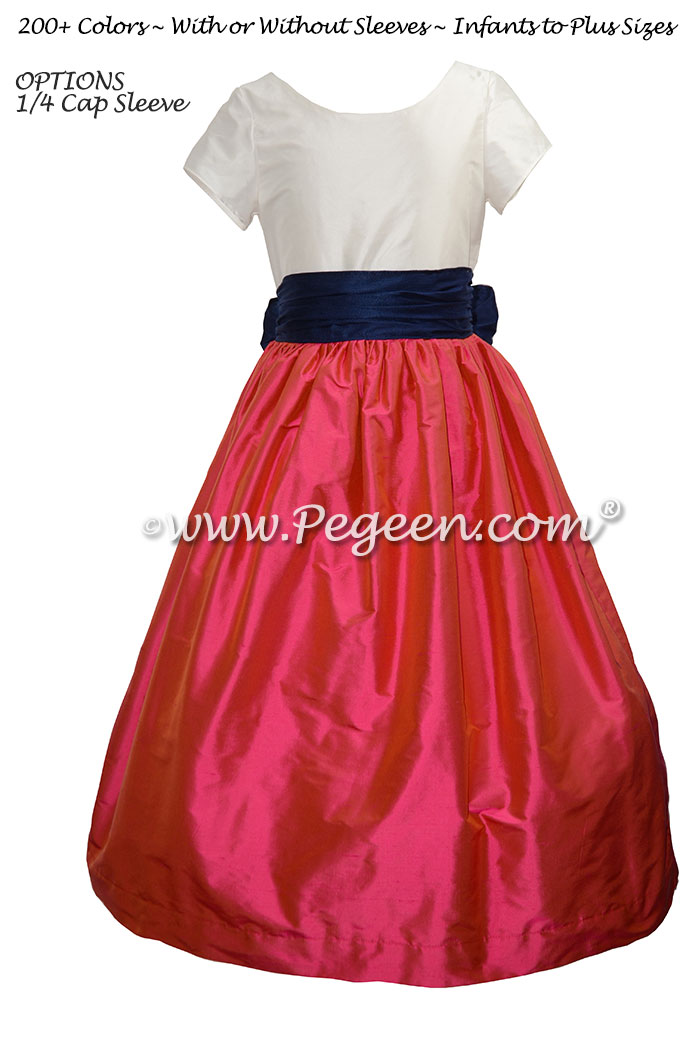 Flower Girl Dress in Sorbet Pink, Navy, Antique White - Pegeen Style 388