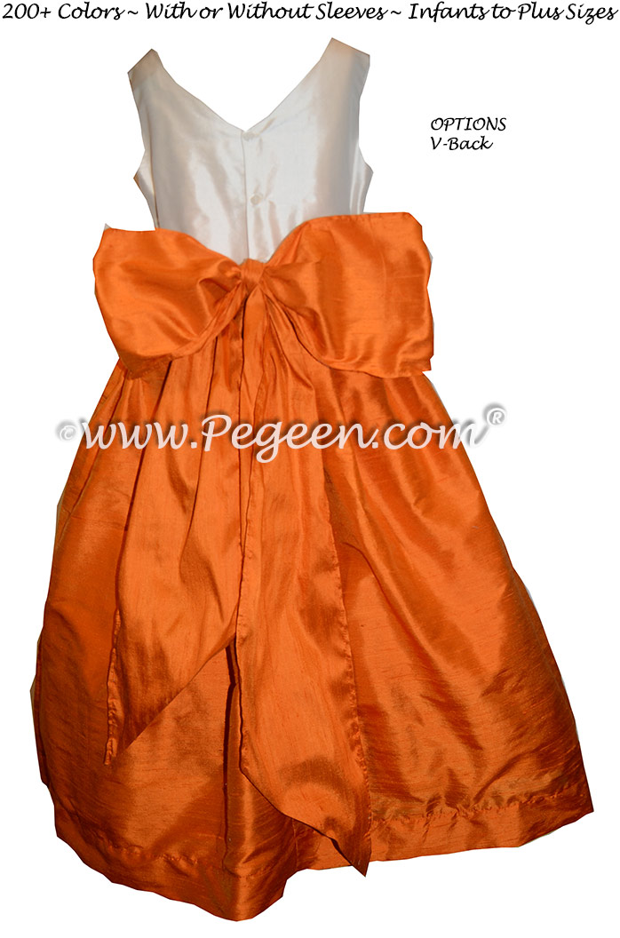 Custom Silk Tangerine and Bisque Flower Girl Dresses Classic Style 388