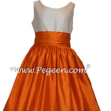 Custom Silk in Tangerine and Bisque Flower Girl Dresses