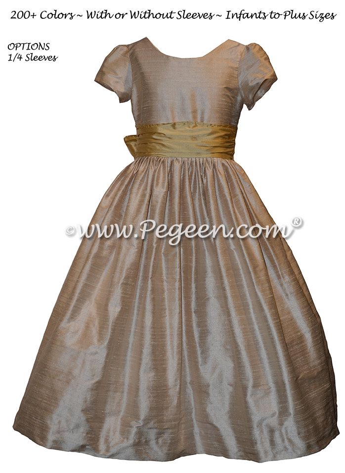 Toffee crème with a spun gold silk sash Style 388