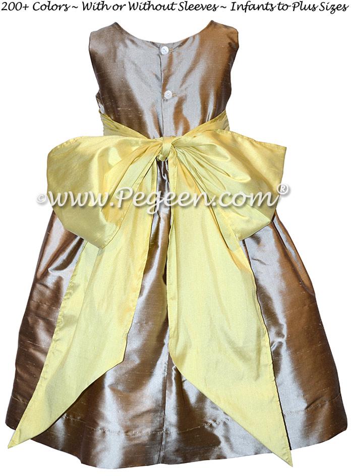 Wolf Gray and Sunshine Yellow Summer-Styled Flower Girl Dress
