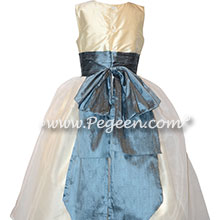 Custom Silk Bisque and Arial Blue flower girl dresses