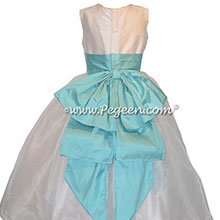 Bahama Breeze and New Ivory silk flower girl dress Style 394